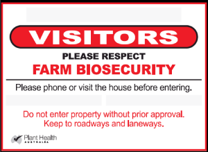 Biosecurity Visitor Sign